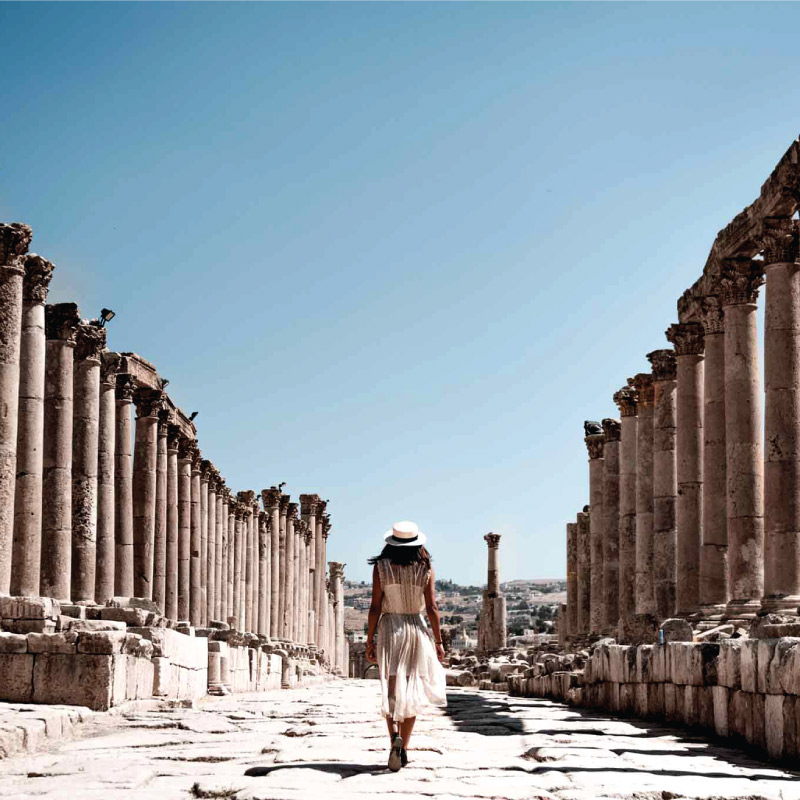 Our tours lady walk in Jerash